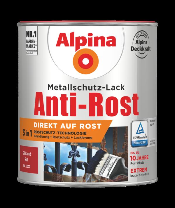 Alpina Metallschutz-Lack Anti-Rost Rot Glänzend - Alpina Farben