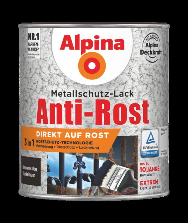 Alpina Metallschutz-Lack Anti-Rost Hammerschlag Dunkelbraun - Alpina Farben