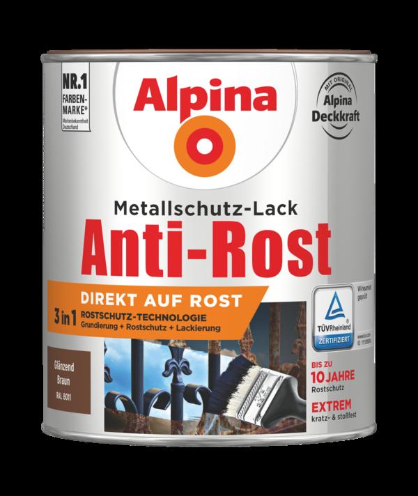 Alpina Metallschutz-Lack Anti-Rost Braun Glänzend - Alpina Farben
