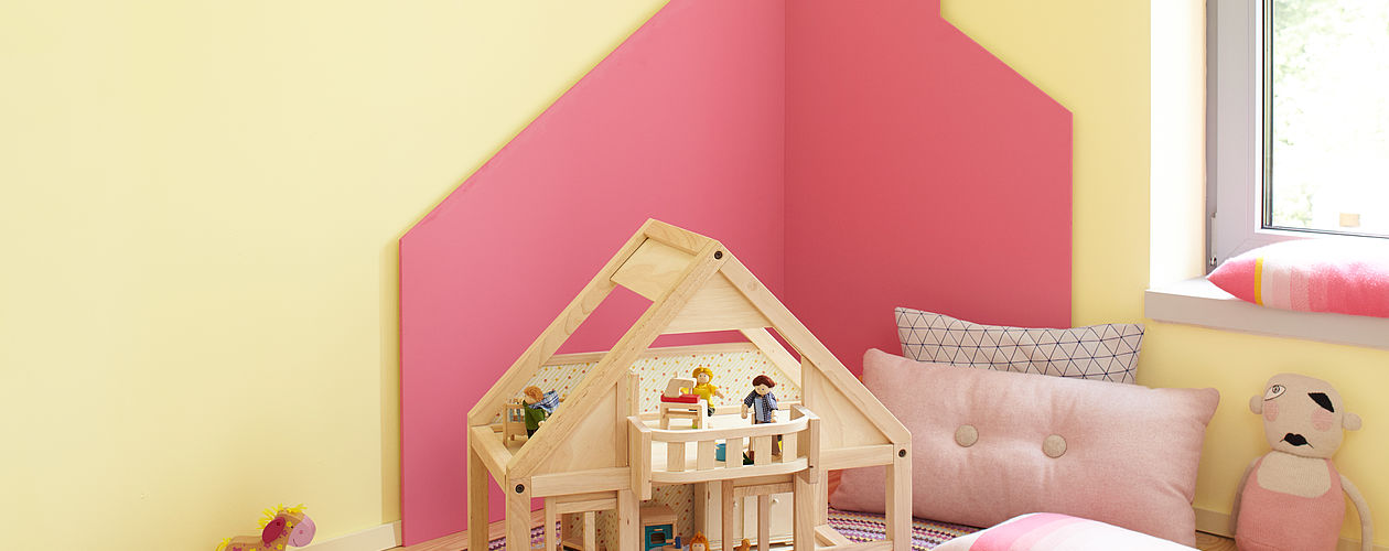 Kinderzimmer für Mädchen ab 3 Jahren – Rosa Wandfarben.