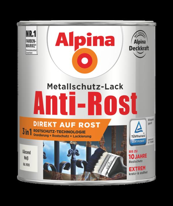 Alpina Metallschutz-Lack Anti-Rost Weiss Glänzend - Alpina Farben