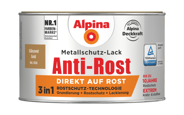 Alpina Metallschutz-Lack Anti-Rost Gold Glänzend - Alpina Farben