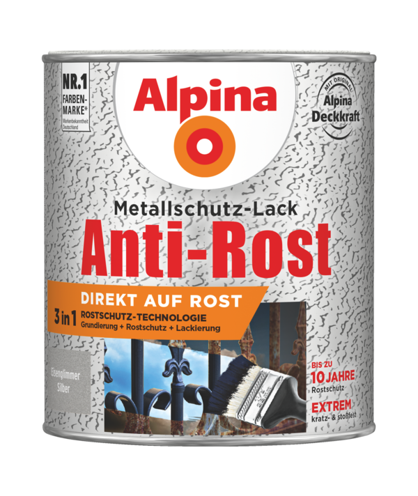 Alpina Metallschutz-Lack Anti-Rost Eisenglimmer Silber - Alpina Farben