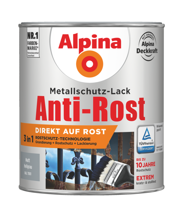 Alpina Metallschutz-Lack Anti-Rost Hellgrau matt - Alpina Farben