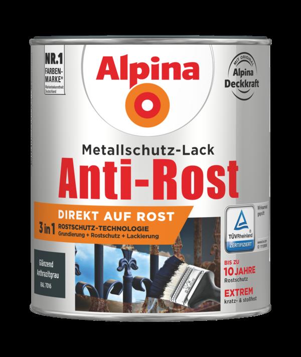 Alpina Metallschutz-Lack Anti-Rost Anthrazitgrau Glänzend - Alpina Farben