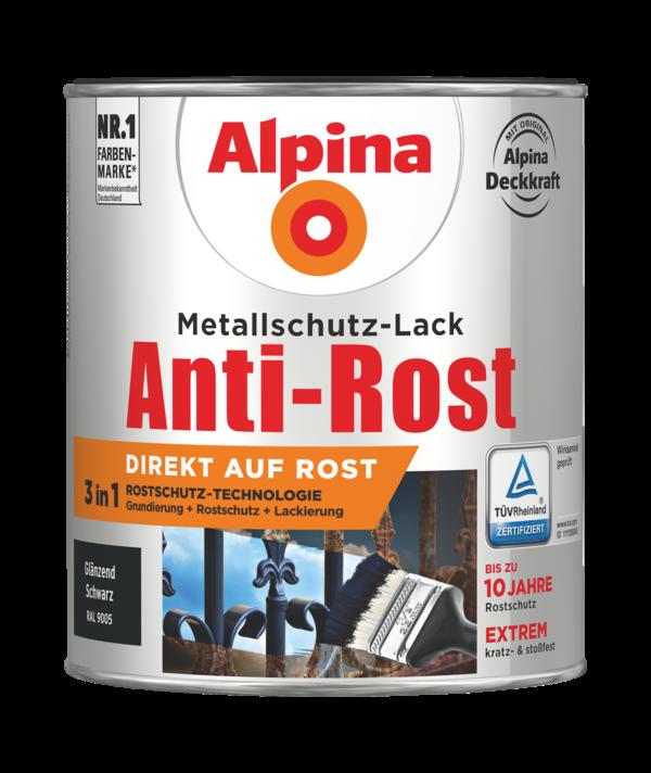 Alpina Metallschutz-Lack Anti-Rost Schwarz Glänzend - Alpina Farben