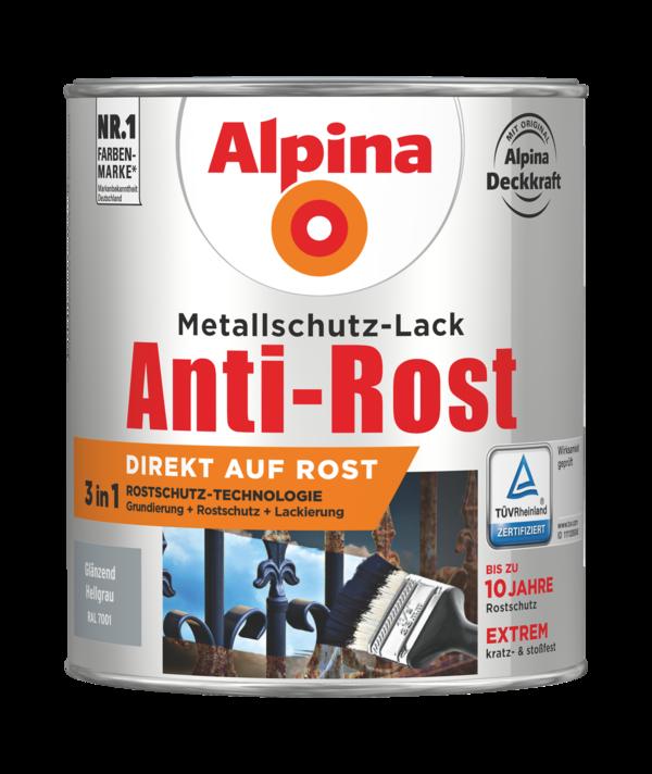 Alpina Metallschutz-Lack Anti-Rost Hellgrau Glänzend - Alpina Farben