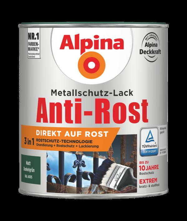 Alpina Metallschutz-Lack Anti-Rost Dunkelgrün matt - Alpina Farben