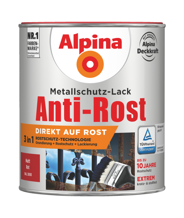 Alpina Metallschutz-Lack Anti-Rost Rot matt - Alpina Farben