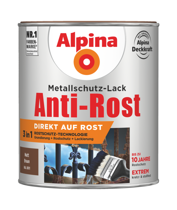 Alpina Metallschutz-Lack Anti-Rost Braun matt - Alpina Farben