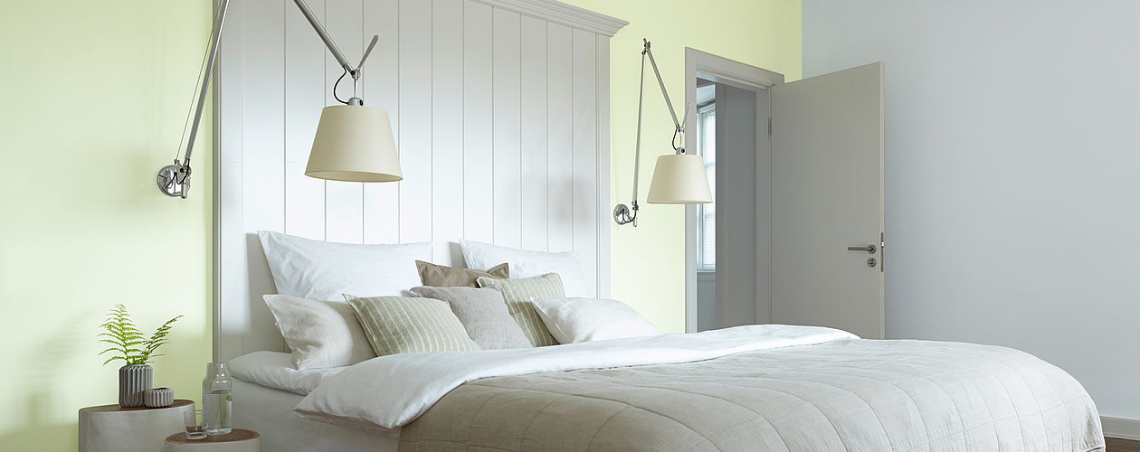 Zarte Grünnuancen wirken beruhigend und revitalisierend – ideal für das Schlafzimmer.